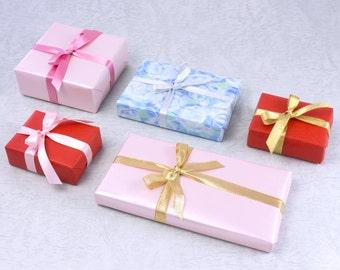 Wrapping option, gift wrap option, ribbon bundle, gift wrap service, gift packaging, gift wrapping, satin ribbon, metallic ribbon