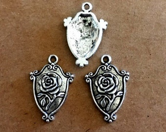5 Rose Charms - Antique Silver - SC265 #MG