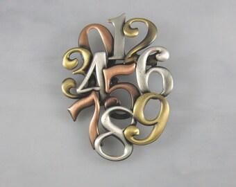Numbers Brooch- Math Jewelry- Teacher Gift- Math Teacher