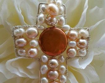 CROSS PENDANT Peach Cream Pearl Wire wrapped Sterling silver Cross Pendant