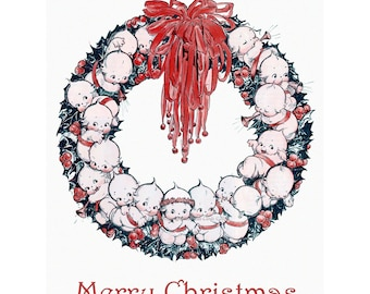 Kewpie Christmas Card - Kewpies Form a Wreath - Rose O'Neill
