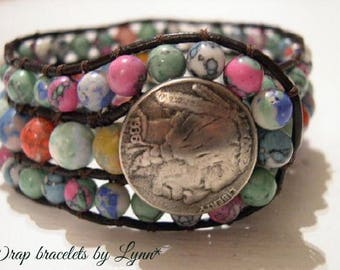 Beaded Cuff Bracelet, Beaded Leather Cuff - 938