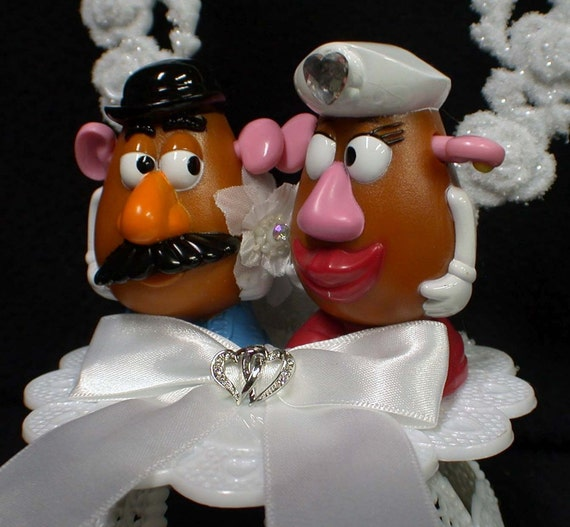 Mr Mrs Potato Head Wedding Cake Topper Top Hunny Swweet Heart Country Mix Match You Pick Only Gl Server Set Book