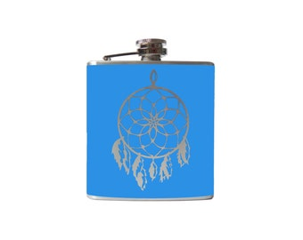 Dream Catcher Flask- alcohol, whiskey- Personalized Custom - YOU pick COLOR