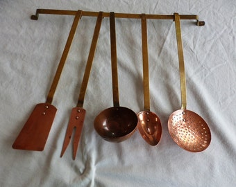 Hanging set of copper and brass kitchen tools. Vintage French copper Kitchen utensils.
