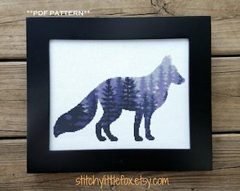 Modern Fox Cross Stitch Pattern, Nighttime, Forest Cross Stitch, Animal Silhouette Pattern, Tree Cross Stitch, Embroidery Nature, Beautiful
