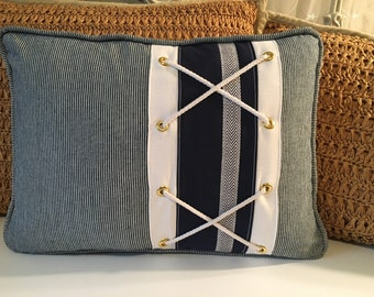 Navy Pinstripe Pillow, Nautical, Beach, Coastal Style