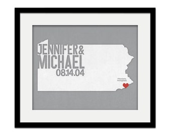 Pennsylvania Wedding Gift - Personalized City State and Heart Silhouette - Custom Wedding Date - Location Modern Art Print - 8x10