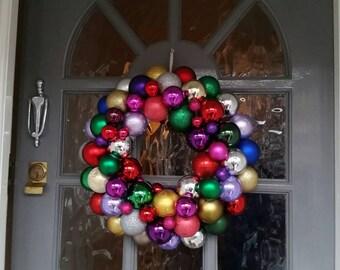 Christmas bauble wreath