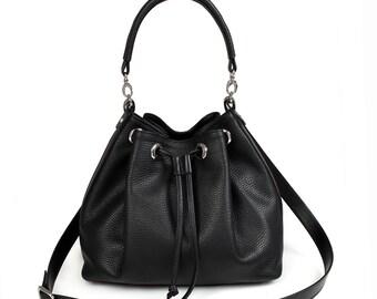 Leather Cross body Bag, Black Leather Shoulder Bag, Women's Leather Crossbody Bag, Leather bag KF-425