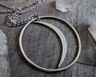 Witchy Necklace - Crescent - Moon - Silver - Goth - Pendant - Lunar - Jewelry - Unique Gift - Dark - Celestial - Gothic - Moon