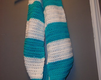 Teal and White Infinity Scarf