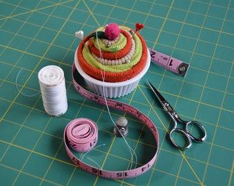 Hot Dish Pincushion Cupcake, Cupcake Pin Cushion, Green Orange & Cream Cupcake Gifts, Christmas gifts under 15 dollars