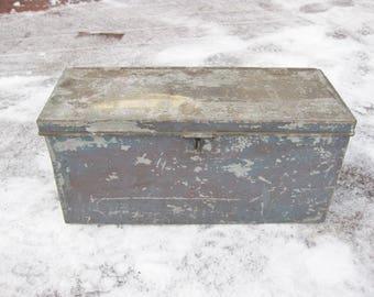 Vintage Tool Box, Peter Gray Maker Boston, Galvanized Steel Tool Box, Industrial Railroad Tool Box