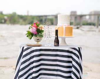 Black and White Striped Tablecloth, Overlays, 1 inch stripe  Gatsby Glam Weddings, Bridal Shower, Dinner Party, Black and White Stripe