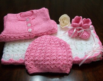 Pink Crochet Baby Blanket Afghan Set. Pink Baby Cardigan, Pink Baby Hat, Pink Baby Booties, Pink Beanie Set