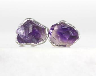 amethyst earrings   amethyst point studs   february birthstone earrings   february birthstone studs   raw crystal earrings   amethyst studs
