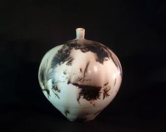 Horsehair ceramic vase