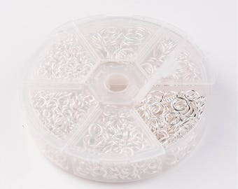 1 box (1,750pcs) jump ring in mixed sizes in silver