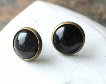 Black Earrings, Black STUDS or Clip On Earrings, choose 8mm or 12mm size, small black clips, little black studs tiny black earrings E452