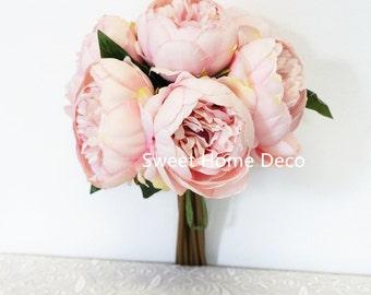 JennysFloweShop 11'' Silk Peony Artificial Flower Bouquet Wedding/Home Decorations (10 Stems/7 Flower Heads) Pink
