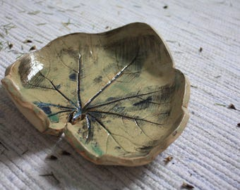 Handmade ceramic leaf dish, leaf plate, leaf print dish, rustic, oxide finish, decorative, handmade gift, housewarming gift