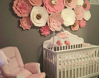 Paper Flowers Set of 15 Paper Flower Wall | Paper Flower Backdrops |  | Baby Nursery | Home Decor | Wedding Backdrops | Pink, White, Gold