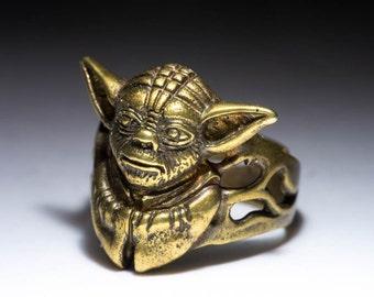 Yoda Ring, Star Wars, brass, adjustable size, handmade