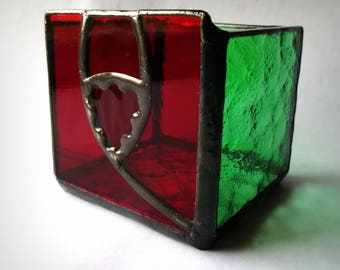 CANDLE BOX stained glass tealight candle holder Red Rose