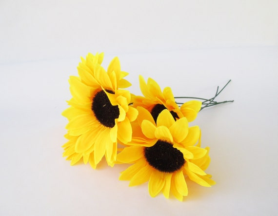 5 artificial sunflowers silk flowers big yellow sunflowers 5 floral 5 artificial sunflowers silk flowers big yellow sunflowers 5 floral hair accessories flower supplies faux fake autumn flowers from flowersfield on etsy mightylinksfo Gallery