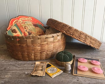 Vintage Sewing Basket and Contents, Sewing Lot, Inspiration Lot