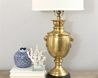 Vintage Brass Lamp Trophy Urn Vessel Table Lamp Satin Brass Finish Ring  Handles