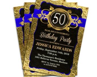 Royal Blue and Gold Birthday Party Invitation / Digital Printable Invitation / Customized