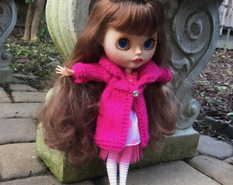Hot pink knit doll coat, Blythe doll coat with rhinestone buttons, 12 inch doll sweater, gift for doll collector, miniature knit long coat