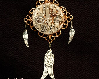 Time Catcher Pendant And Brooch - Indian Inspired Steampunk - Repurposed Watch Convertible Pin And Necklace - The Time Flies Series