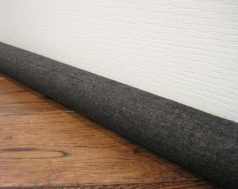 DENIM door draft stopper cover, draft snake, draft dodger. Black or dark blue denim fabric.