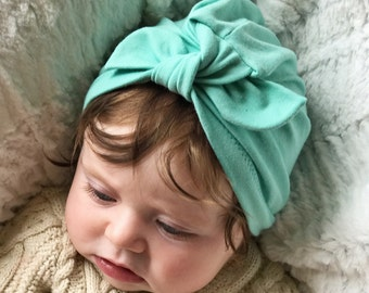 Aqua baby turban hat with bow- newborn hat - baby turban