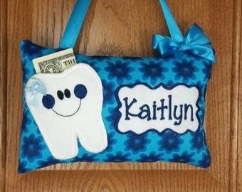 Girls personalized tooth fairy pillow blue flowers on blue