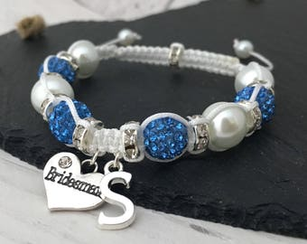 Bridesmaid Bracelet, Personalised Bridesmaid Gift, Maid of Honour Bracelet, Bridesmaid Jewellery, Personalised Bracelet, Macramé Jewellery