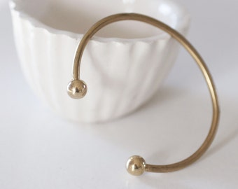 Raw brass adjustable cuff Bracelet Bangle finish balls