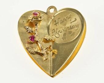 14k Retro Ruby* 3D Flower Happy Anniversary Heart Charm/Pendant Gold