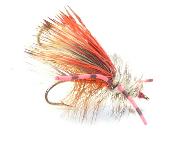 Orange Crystal Stimulator Dry Fly - Hook Size 14 - Hand-Tied Fly Fishing Trout Flies