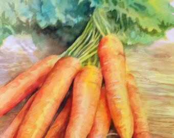 Original Watercolor of a Bunch of Carrots