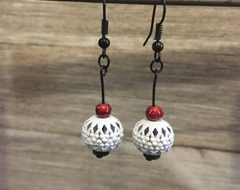 White - Red - Black - Boho Chic Earrings - Bohemian - Simple - Filigree - Casual Earrings - Unique - Handmade - Handcrafted Jewelry - Boho