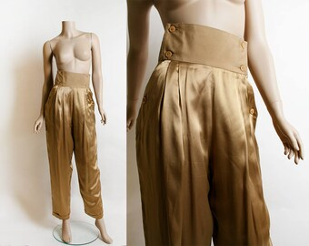 Vintage Satin Gold Pants - Italian Harem Style Copper Bronze Metallic High Waist Slacks - Pancaldi & B - Small