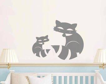 Baby room, nursery raccoons mama and baby