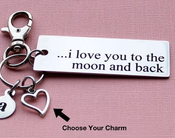 Personalized Love Key Chain I Love You To The Moon And Back Stainless Steel Customized with Your Charm & Initial - K225