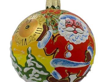"3.25"" Santa Awaits New Year Holiday Glass Ball Christmas Ornament"