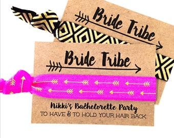 CUSTOM Bride Tribe Hair Tie Favors | Boho Bachelorette Party Favor Hair Ties, Bohemian Bachelorette Favors, Gold Arrow Tribal Boho Hair Ties