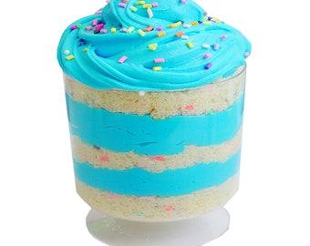 12oz Bright Blue Bubble Gum Cake Set | Cloud Slime & Thick Fluffy Buttercream | Bubble Gum Scented | UK Britain Slime Shop
